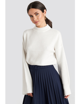 Wide Sleeve Round Neck Knitted Sweater White by Na Kd