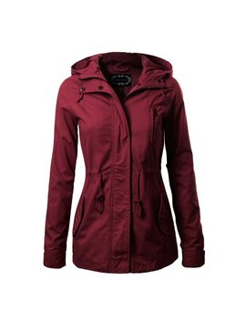 Made By Olivia Women's Military Anorak Safari Hoodie Jacket Burgundy M by Made By Olivia