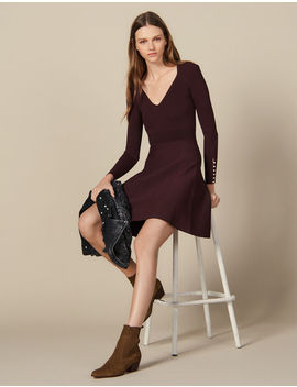 Knit Dress With Jewelled Buttons by Sandro Paris