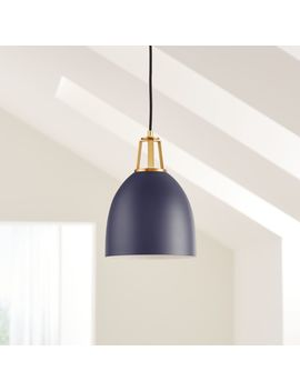 Maddox Black Dome Pendant Small With Brass Socket by Crate&Barrel