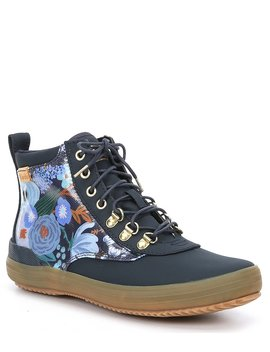 X Rifle Paper Co. Garden Party Splash Twill Scout Boots by Keds