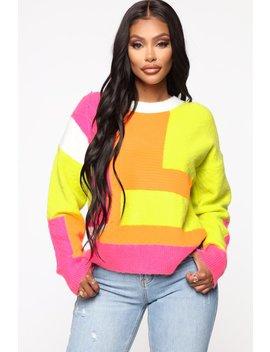 Don't Care Color Block Sweater   Multi Color by Fashion Nova