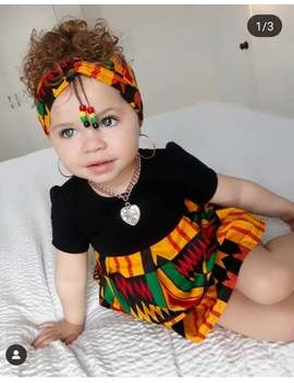 new-african-print-ankara-infant-kente-onesies-dress-with-headband,-knee-dress,-african-baby,-baby-kente-dress by etsy