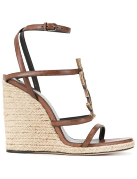 Monogram Strappy Wedge Espadrilles by Saint Laurent
