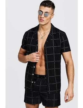 Man Square Print Short Sleeve Revere Shirt by Boohoo