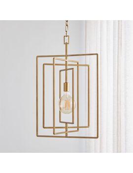 Pivot Brass Caged Pendant Light by Crate&Barrel