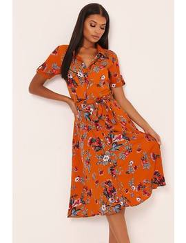 Orange Printed Floral Shirt Dress by I Saw It First