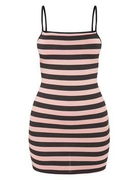 Baby Pink Contrast Stripe Square Neck Bodycon Dress by Prettylittlething