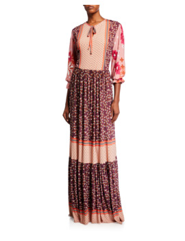 Mixed Print Long Sleeve Maxi Dress by Melissa Masse