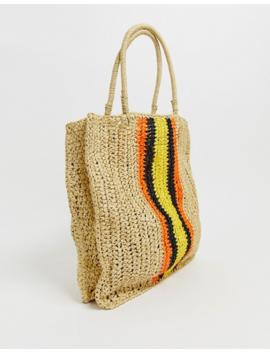 Warehouse – Bunt Gestreifte Shopper Tasche Aus Stroh by Asos