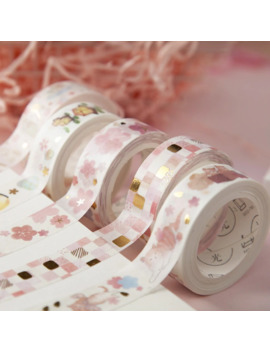 1 Pc Golden Pink Foil Paper Cherry Washi Tape Set Japanese Scrapbooking Decorative Tapes Cat Claw For Photo Album Home Decoration by Ali Express.Com