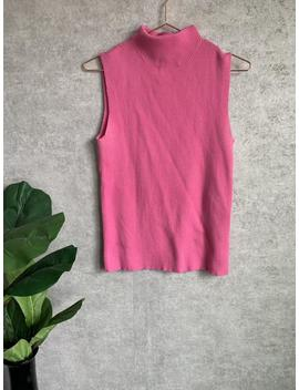 Vintage Bright Pink Sleeveless Mockneck Knit Tank by Etsy