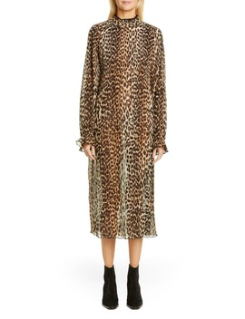 Leopard Print Sheer Georgette Long Sleeve Midi Dress by Ganni