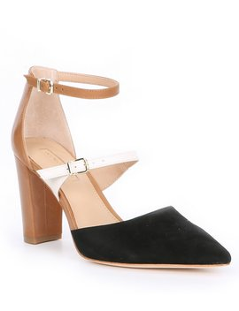 Seriena Double Strap Suede & Leather Block Heel Pumps by Antonio Melani
