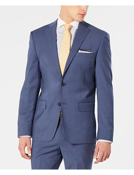 Men's Modern Fit Stretch Blue Mini Check Suit Jacket by General