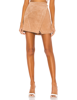 High Rise Suede Skirt In Almond by Blanknyc