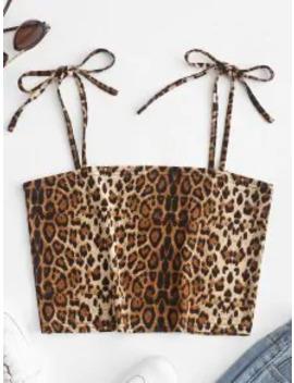 Hot Salezaful Leopard Tie Shoulder Cami Crop Top   Leopard S by Zaful