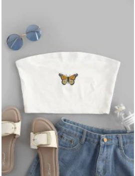 Hot Sale Butterfly Embroidered Crop Strapless Top   White S by Zaful
