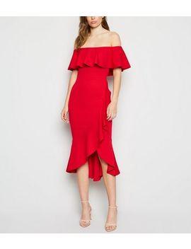 Red Ruffle Bardot Midi Dress by New Look