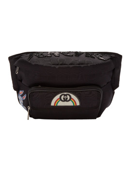 Black 'tenebre' Logo Patch Belt Bag by Gucci