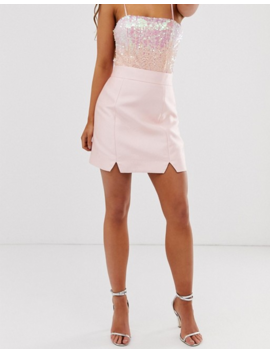 Collective The Label Tailored A Line Skirt In Pink Sateen by Skirt