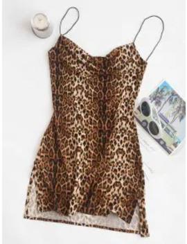 Hot Sale Snakeskin Leopard Print Slits Flared Cami Dress   Multi S by Zaful