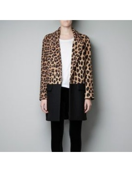 Nwot Zara Leopard Print & Black Color Block Coat by Zara