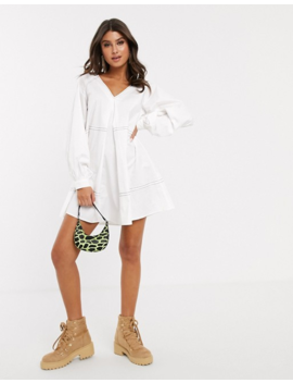 Asos Design Mini Smock Dress With Long Sleeves And Contrast Stitching by Asos Design