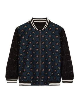 Jacquard Paneled Lace Bomber Jacket by Anna Sui