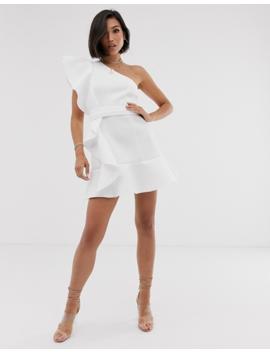 Asos Design One Shoulder Ruffle Mini Dress With Pep Hem by Asos Design