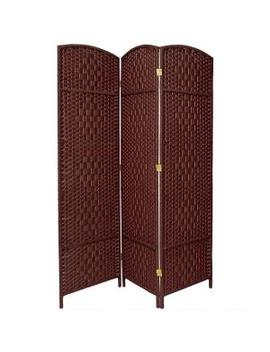 6 Ft. Dark Red 3 Panel Room Divider by Oriental Furniture