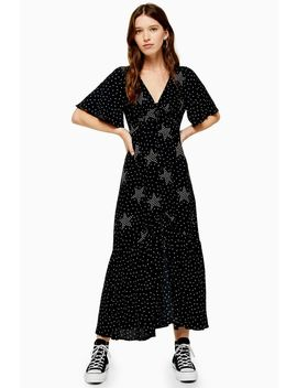 Star Button Angel Sleeve Dress by Topshop