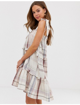 Neon Rose Tiered Smock Dress With Tie Shoulders In Check by Neon Rose