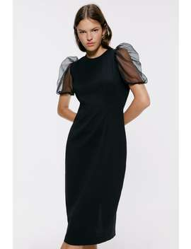 Dress With Voluminous Organza Sleeves View All Dresses Woman by Zara