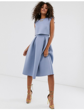 Asos Design Tall Fold Back Crop Top Midi Prom Dress by Asos Design