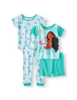 Moana Cotton Tight Fit Pajamas, 4pc Set (Toddler Girls) by Moana