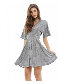 Short Sleeve Metallic Skater Dress by General