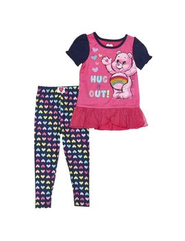 Care Bears Sparkle Ruffled Hem Top & Leggings, 2pc Pajama Set (Toddler Girls) by Care Bears