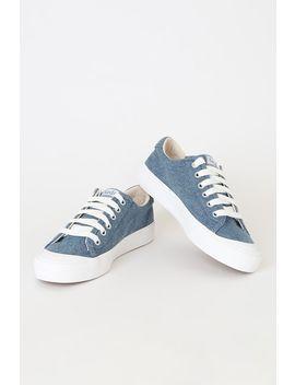Crew Kick 75 Denim Blue Canvas Platform Sneakers by Keds