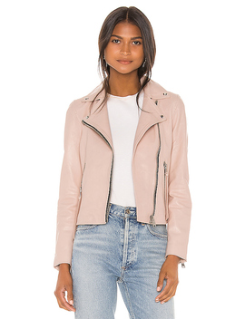Dalby Leather Biker Jacket In Nude Pink by Allsaints