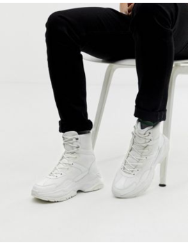 Asos Design High Top Sneakers In White Mesh With Chunky Sole by Asos Design
