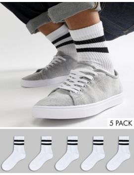 Asos Design 5 Pack Sport Sock In Short Length In White With Stripes Save by Asos Design
