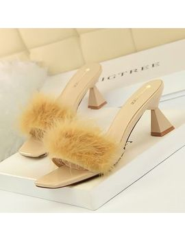 Trel   Open Toe Fluffy High Heel Sandals by Trel