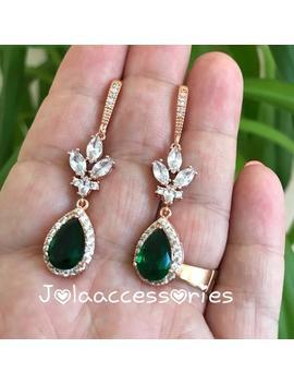 Rose Gold Bridal Emerald Earrings Pink Gold Wedding Earrings Zirconia Drop Earrings Halo Earrings Wedding Jewellery Bridesmaid Dangle Earri by Etsy