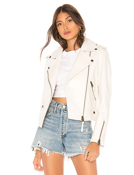 Baya Leather Jacket In White by Mackage