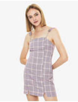 Plaid Overall Dress With Chain Straps by Bershka
