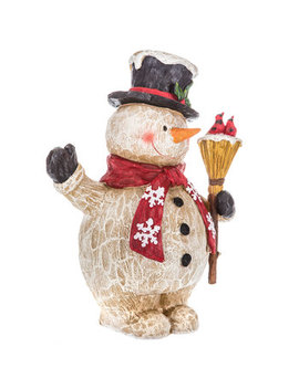 Carved Snowman With Broom by Hobby Lobby