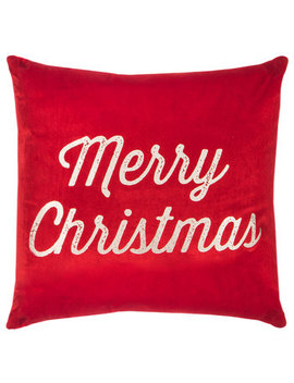 Red & Champagne Merry Christmas Pillow by Hobby Lobby