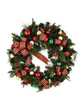 """32\"""" Oversized Ornament, Ribbon And Pine Wreath By Valerie by The Valerie Parr Hill Collection"""