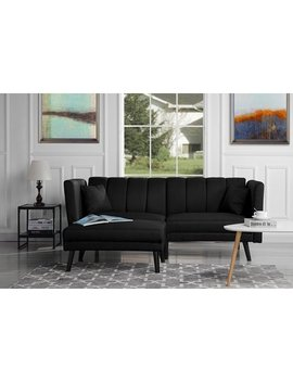 Mid Century Modern Linen Fabric Futon Sofa Bed, Living Room Sleeper Couch (Black) by Sofamania
